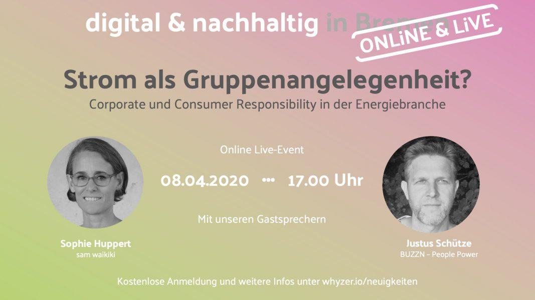 Strom als Gruppenangelegenheit? Online Live-Event am 8.4. um 17 Uhr