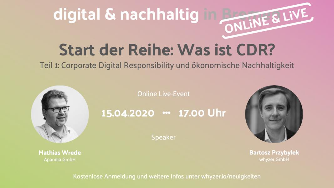 Start der Reihe: Was ist CDR? – Online Live-Event am 15.4. um 17 Uhr